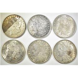 1921-D & 5 1921 MORGAN DOLLARS MOSTLY AU+