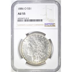1886-O MORGAN DOLLAR  NGC AU-55