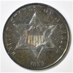 1859 3 CENT SILVER BU NICE COLOR