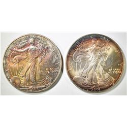 2 2001 SILVER EAGLES NICE COLOR
