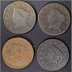 (4) LARGE CENTS  1820 G, VG, 1829 VG, 1851 VF