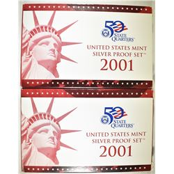 2-2001 U.S. SILVER PROOF SETS IN ORIG PACKAGING