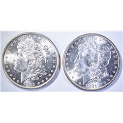 1881 & 81-O MORGAN DOLLARS, CH BU FLASHY!