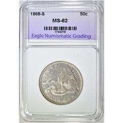 1868-S SEATED LIBERTY HALF DOLLAR, ENG CH BU