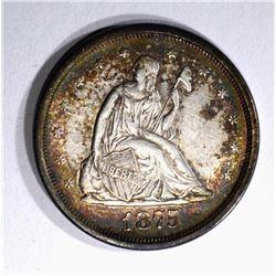 1875-S TWENTY CENT PIECE, AU/BU