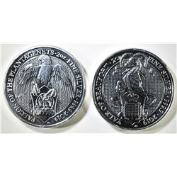 2-2019 QUEENS BEAST 2 OUNCE SILVER COINS