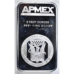 FIVE OUNCE .999 SILVER BAR, AMPEX