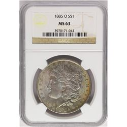 1885-O $1 Morgan Silver Dollar Coin NGC MS63 Amazing Toning