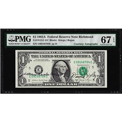 1981A $1 Federal Reserve Note Dual Courtesy Autographs PMG Superb Gem Unc. 67EPQ