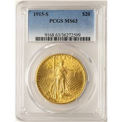 1915-S $20 St. Gaudens Double Eagle Gold Coin PCGS MS63