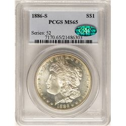 1886-S $1 Morgan Silver Dollar Coin PCGS MS65 CAC