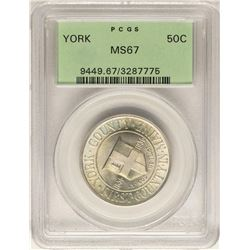 1936 York County Commemorative Half Dollar Coin PCGS MS67 Old Green Holder