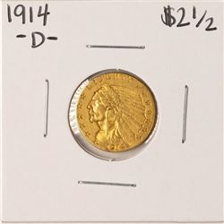 1914-D $2 1/2 Indian Head Quarter Eagle Gold Coin