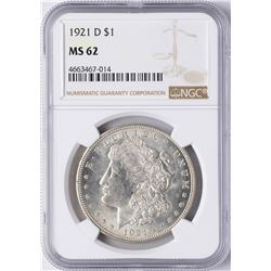 1921-D $1 Morgan Silver Dollar Coin NGC MS62