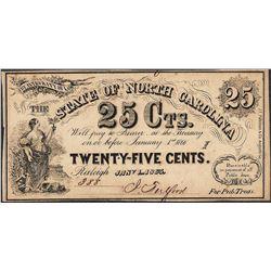 1863 State of North Carolina Twenty Five Cents Obsolete Note