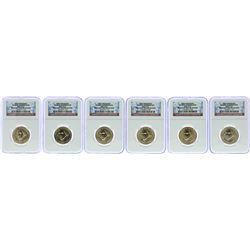 Lot of (6) 2007 George Washington Presidential Dollar Coins NGC Brilliant Uncirc