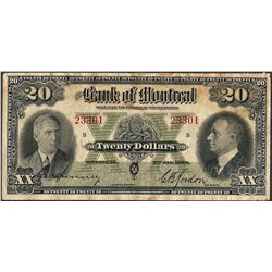 1938 $20 The Bank of Montreal Canada Note