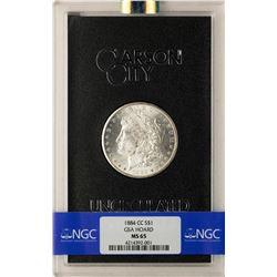 1884-CC $1 Morgan Silver Dollar Coin GSA Hoard Uncirculated NGC MS65