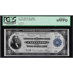 1918 $2 Battleship $2 Federal Reserve Bank Note Cleveland Fr.757 PCGS Gem New 65