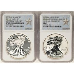 2013-W West Point Set $1 American Silver Eagle Coins NGC PF69/SP69 Enhanced Fini