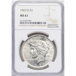 1923-D $1 Peace Silver Dollar Coin NGC MS61