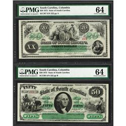 Matching Fancy Serial 1872 $20 & $50 South Carolina Obsolete Notes PMG Choice Un