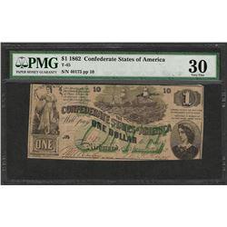 1862 $1 Confederate States of America Note T-45 PMG Very Fine 30