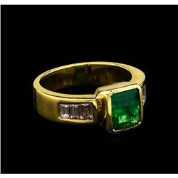2.40 ctw Emerald and Diamond Ring - 18KT Yellow Gold