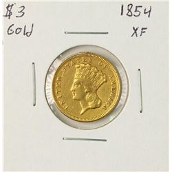 1854 $3 Gold Coin XF Details