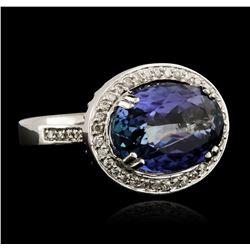 6.52 ctw Tanzanite and Diamond Ring - 14KT White Gold