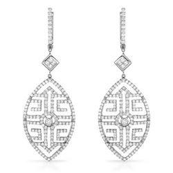 18k White Gold 3.07CTW Diamond Earring, (VS1-VS2/SI1-SI2/H-I/G-H)
