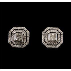 2.14 ctw Diamond Earrings - 14KT White Gold