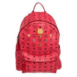 MCM Red Visetos Coated Canvas Leather Trim Studded Stark Medium Backpack