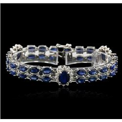 14KT White Gold 27.50 ctw Sapphire and Diamond Bracelet
