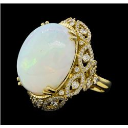 20.33 ctw Opal and Diamond Ring - 14KT White Gold