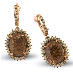 14k Rose Gold 14.45CTW Multicolor Dia and Smokey Quartz Earring, (SI1-SI2/Gold)