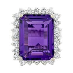 14KT White Gold 12.49 ctw Amethyst and Diamond Ring