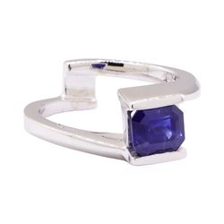 1.50 ctw Blue Sapphire Solitaire Ring - 14KT White Gold