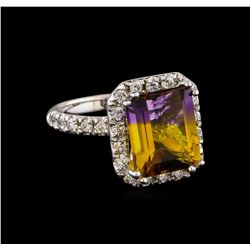 4.87 ctw Ametrine and Diamond Ring - 14KT White Gold