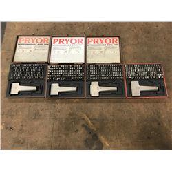 (4) Pryor Hardened Steel Type Set *See Photos*
