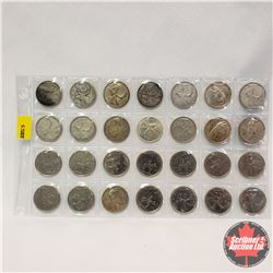 Canada Twenty Five Cent - Sheet of 28: 1942; 1949; 1951; 1957; 1959 (2); 1960; 1962; 1964; 1965; 196
