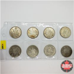 Canada Fifty Cent - Sheet of 8: 1940; 1943; 1963; 1964 (2); 1965 (2); 1966