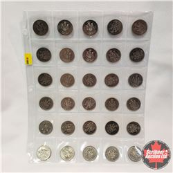 Canada Fifty Cent - Sheet of 30: 1968; 1969; 1976 (3); 1979 (5); 1982; 1983 (7); 1984 (9); 1985 (2);