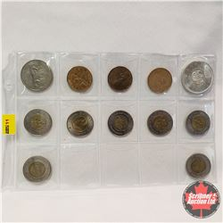 Canada Coin Grouping - Sheet of 12: Toonie 2000 (7); Loonie 1995, 1867-1992, 1987; Dollar 1980, 1864