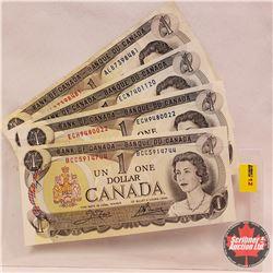 Canada $1 Bills: 1973 (4)