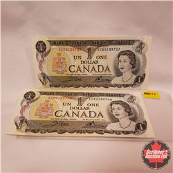Canada $1 Bills : 1973 (2 Sequence) ECK4159707/708