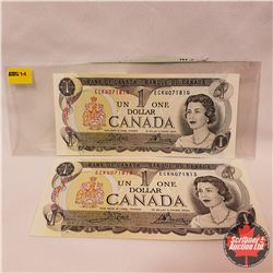 Canada $1 Bills : 1973 (2 Sequence) ECK4071813/814