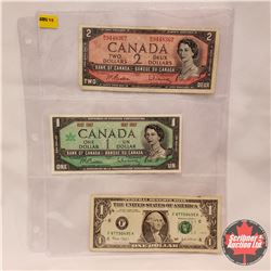 Bills (3): Canada $1 Bill Centennial 1867-1967; Canada $2 Bill 1954; USA $1 Bill 2003