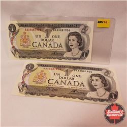 Canada $1 Bills : 1973 (2 Sequence) BAA3481905/906