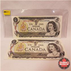 Canada $1 Bills : 1973 (2 Sequence) AME6187368/369